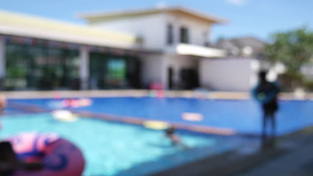 Blurred swimming pool background footage. video