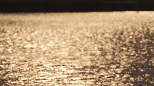 stockvideo's en b-roll-footage met vage rust gouden achtergrond van de oppervlakte van het water. - gewone snelheid