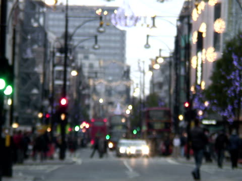 offuscata/vacanze invernali traffico, londra -time lapse - soft focus video stock e b–roll