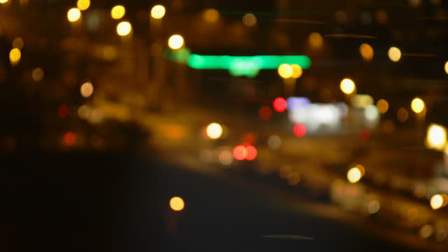 Blurry city street lights at night video