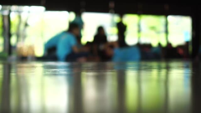 blurry movement of children in school : 4k video
