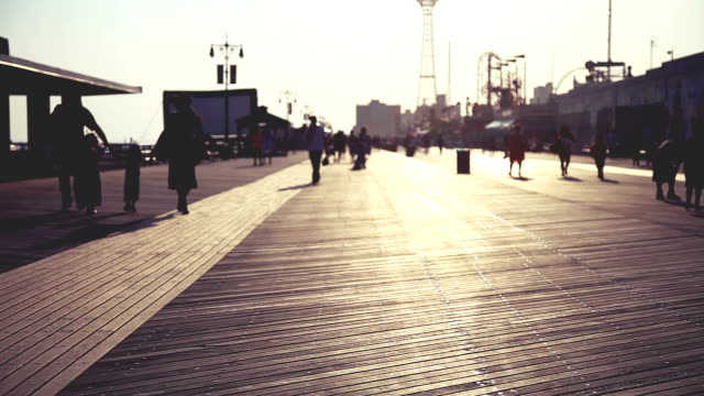 Boardwalk at sunset in Coney Island video