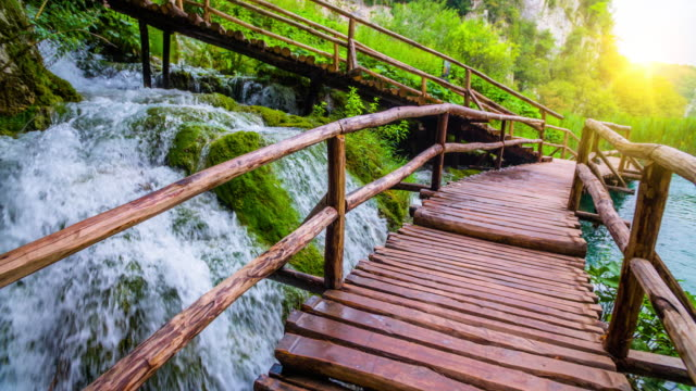 steadycam: boardwalk through stunning nature in plitvice lakes national park - национальный парк плитвицкие озёра стоковые видео и кадры b-roll