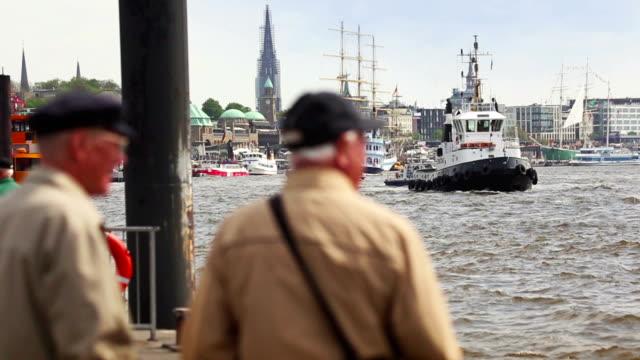 Boat at the harbor of Hamburg and Elbe river video