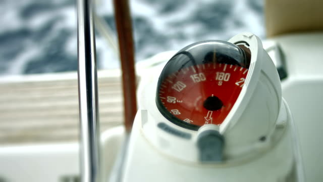 Boat compass close up Boat compass navigational compass stock videos & royalty-free footage