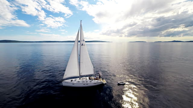 AERIAL Boat Crew On A Sailboat video