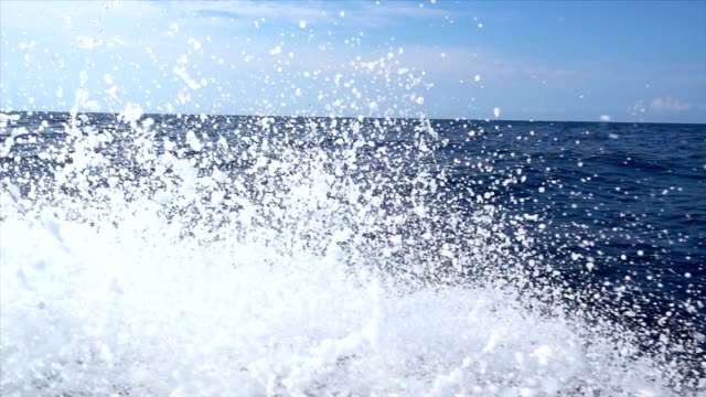 SLO MO Boat cruising in the sea - video