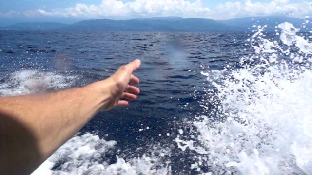 SLO MO Boat cruising in the sea video