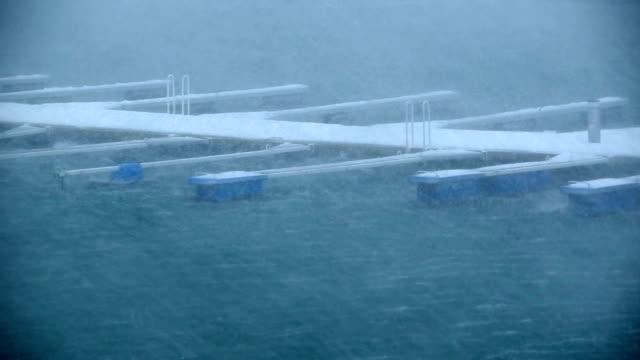 boat docks in hurricane force rain and wind, Reykjavik, Iceland full smooth more levs