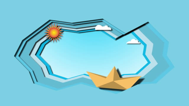 Boat is sailing on the sea with clouds and sun. The concept of paper folding, animation video