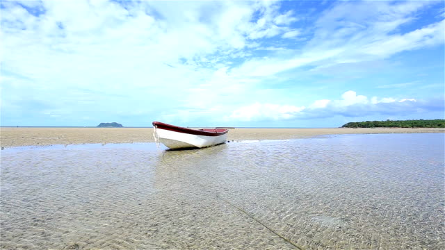 Boat moored on the beach video