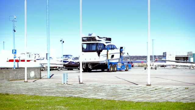 Boat on a trailer in yacht club video