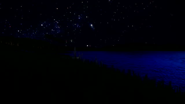 Boat on lake and mountain range, time lapse starry sky video