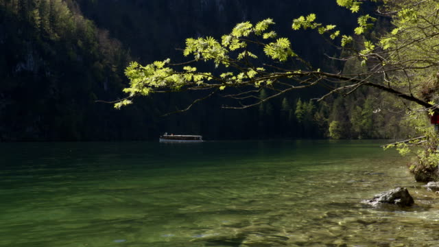 Boat on the lake in the mountains. video