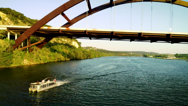 Boat Relaxing on Town Lake during Covid-19 in Austin Texas