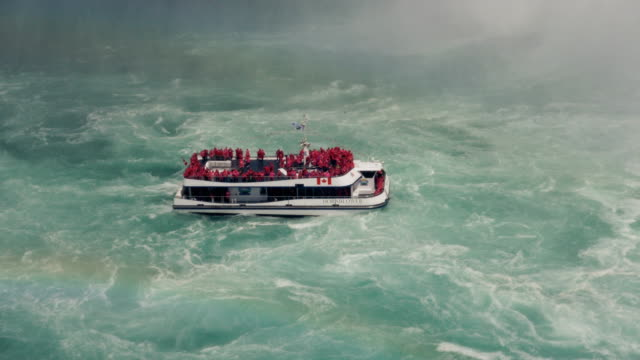 Boat Sailing in the Violent Waters of Horseshoe Falls, Niagara video