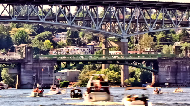 Boat Traffic Time Lapse Zoom v4. Zooming boat traffic time lapse passing by. seattle stock videos & royalty-free footage