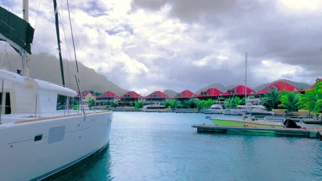 Boat Boat on the sea seychelles giant tortoise stock videos & royalty-free footage