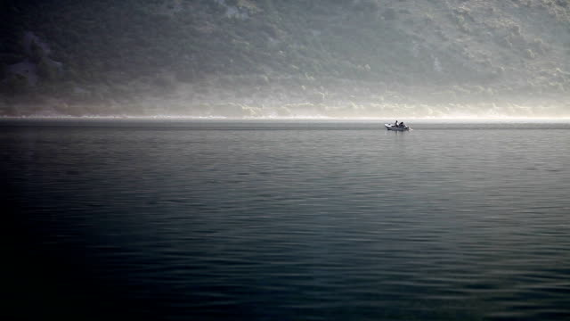 Boating in the morning mist video
