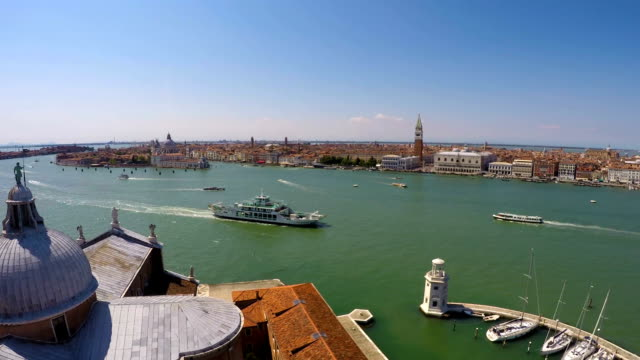Boats and vaporettos sailing across Venice Canal, view from top, time-lapse video