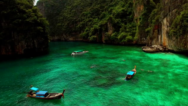 Boats Around Kho Phi-Phi Le, Thailand by Drone video