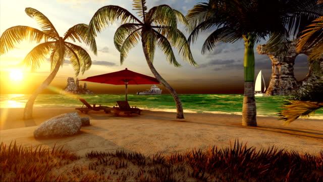 boote auf dem meer und erstaunlicher strand - sonnenschirm stock-videos und b-roll-filmmaterial