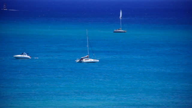 Boats Floating in Ocean  saturated color stock videos & royalty-free footage