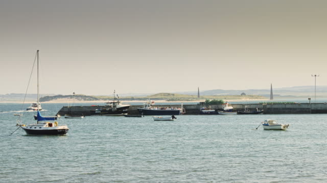 Boats in Lindisfarne Harbour video