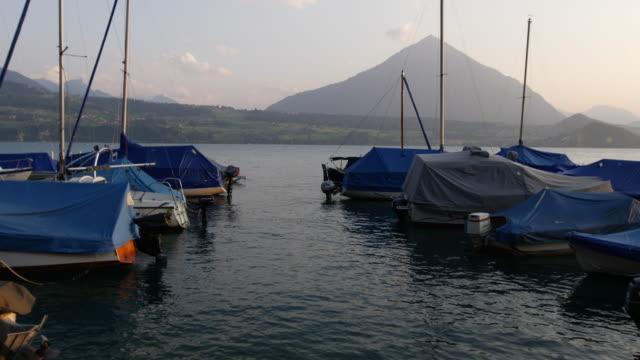Boats in the Lake Thun Marina. Interlaken Region, Switzerland video