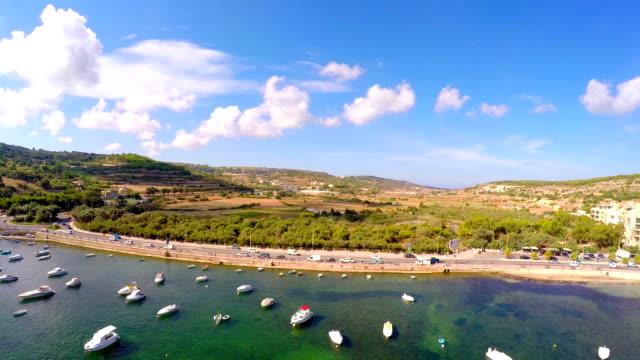 Boats in the sea . Aerial view. Malta video