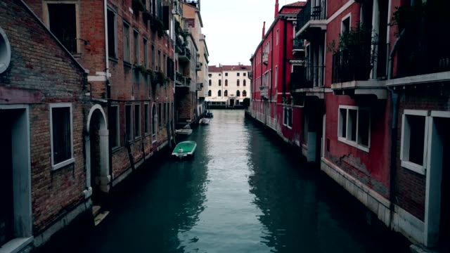 Boats in venice canals, No traffic. Evening and Dusk in Venezia Italy 4K video