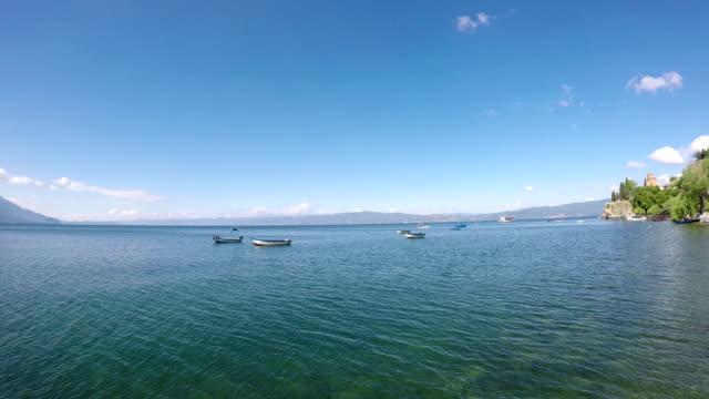 boats on Lake Ohrid landscape 4k video