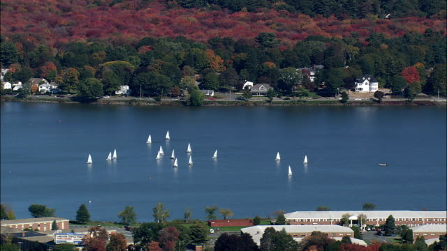 Boats on Lake Quannapowitt - Aerial View - Massachusetts,  Middlesex County,  United States video