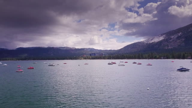 Boats on Lake Tahoe with Stateline Hotels - Aerial View video