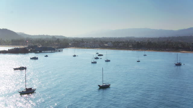 Boats on the Sea by Santa Barbara, California - Static Drone Shot video