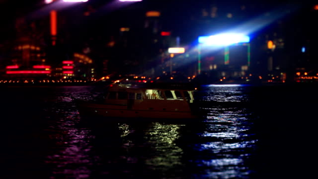 Boats on Water (Sea) at Night video