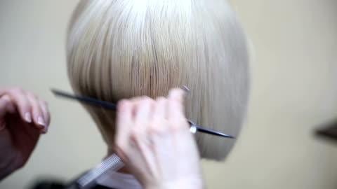 vidéos et rushes de bob coiffure - coiffure