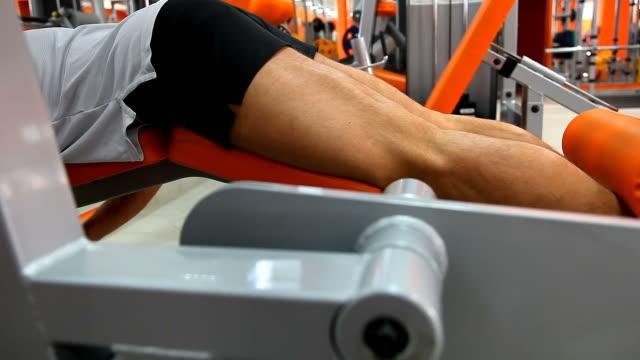 vídeos de stock e filmes b-roll de culturista-propensos efeito da perna - aparelho de musculação