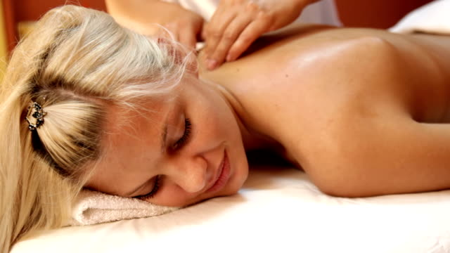 Body massage in spa video