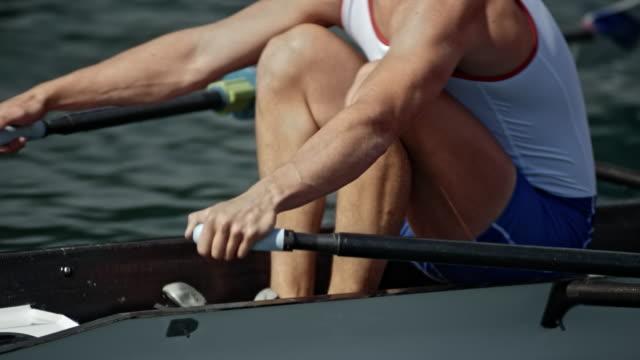vídeos de stock, filmes e b-roll de corpo de ts de uma atleta masculino lemada no sol - remo esporte aquático