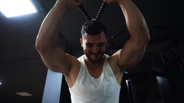 vídeos de stock e filmes b-roll de bodybuilder doing arm exercise at the gym - músculo humano