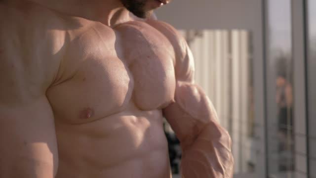 보디 빌딩 근육 질의 몸, 스포츠 남자 자연 채광에서 피트 니스 클럽에서 근육을 구축에 강도 훈련의 결과를 고려 - 보디 빌딩 스톡 비디오 및 b-롤 화면