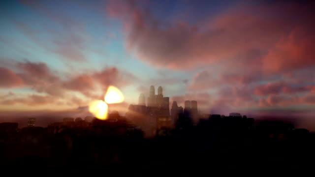 Boeing cruising over night city with beautiful sunrise video