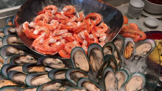 Boiled seafood , prawn and musselThailand video