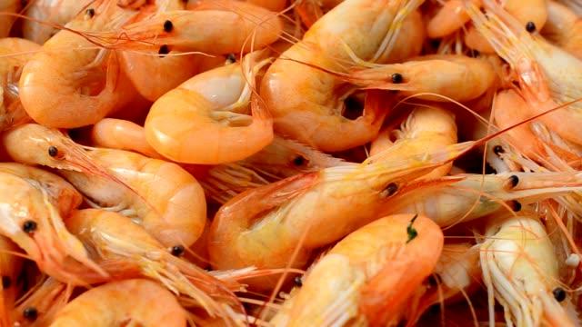 Boiled shrimps. video