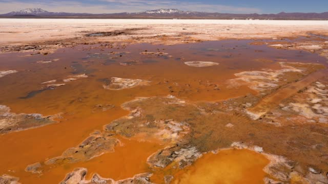 Boiling pond in the salt flat of Uyuni in Bolivia Boiling pond in the salt flat of Uyuni with geothermal activity in Bolivia, South America salt flat stock videos & royalty-free footage