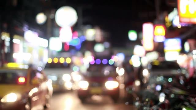bokeh car light at night. out of focus traffic lights. 1920x1080, hd - проспект стоковые видео и кадры b-roll