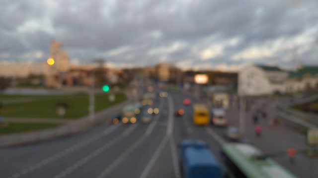 Bokeh city road and traffic video