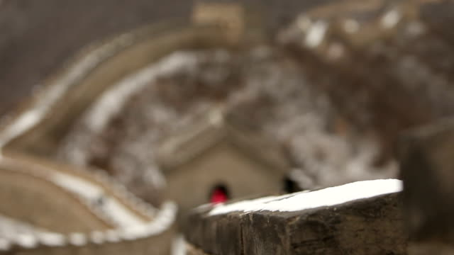 Bokeh Great Wall of China with Snow video