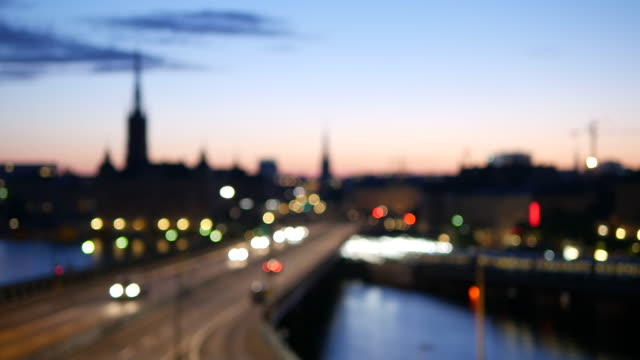 Bokeh Stockholm City Defocused Stockholm cityscape at dusk, traffic passing by stockholm stock videos & royalty-free footage